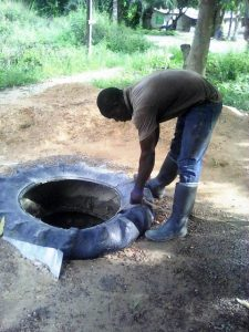 Contaminated water well in African village